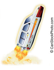 Concept car - Illustration of a concept car - rocket