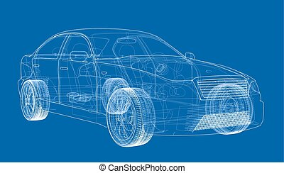 Concept car. Vector rendering of 3d. Wire-frame style. The ...