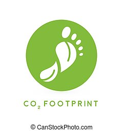 Concept carbon footprint leaves icon in green circle. Vector illustration.