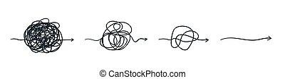 concept., carga, complicado, línea., complejo, pelota, ...