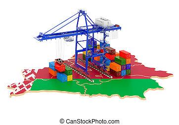 concept., carga, puerto, envío, contenedores, belarus, map., carga, 3d, belorussian, interpretación, grúas