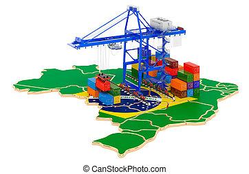 concept., cargaison, port, expédition, récipients, map., fret, brésilien, 3d, brésil, rendre, grues