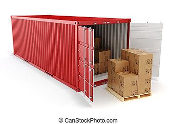 concept., cargaison, transport, récipient, 3d, boîtes, ...
