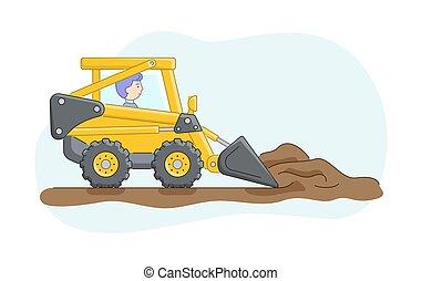 concept., caricatura, work., driver., ground., esboço, personagem, ou, apartamento, ancinhos, caminhão, linear, construção, escavadora, areia, ilustração, maquinaria, style., jobs., vetorial, operador
