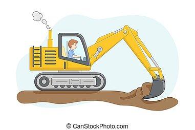 concept., caricatura, work., driver., ground., esboço, personagem, ou, apartamento, escava, escavador, caminhão, linear, construção, areia, ilustração, maquinaria, style., jobs., vetorial, operador