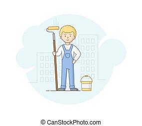 concept., caricatura, work., pesado, esboço, rolo, trabalhos, protetor, apartamento, uniforme, hands., capacete, trabalhador, construção, ilustração, trabalho, construção, ficar, style., vetorial, linear