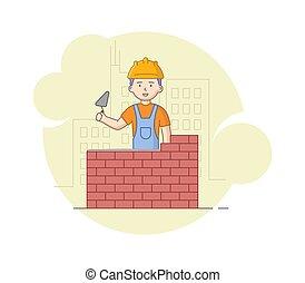 concept., caricatura, work., pesado, esboço, trabalhos, tijolo, protetor, apartamento, uniforme, trowel, hands., predios, capacete, trabalhador, construção, ilustração, trabalho, construção, vetorial, linear, parede