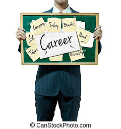 concept, carrière affaires, fond, planche, tenue, homme