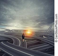 concept, carrière, businesswoman., confondu, long, rue, difficile