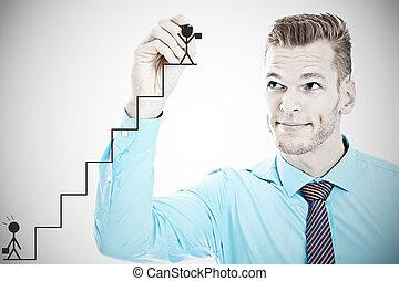 concept, carrièreladder, jonge, zakenman, tekening