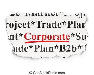 concept:, carta, finanza corporativa, fondo