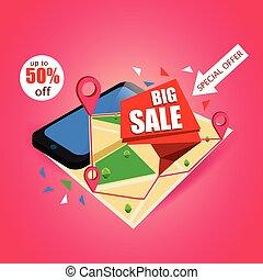 concept, carte, isométrique, smartphone, personalizing., navigation., mobile, grand, ligne, tags., vente, vecteur, commercialisation, design., illustration.