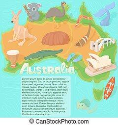 concept, carte, style, australie, dessin animé