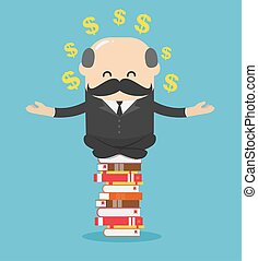 Concept cartoon illustration business man who is mindful by sitting on a pile of books, he succeeds in reading and can make money for him