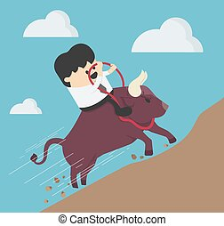 Concept cartoon illustration Businessman ride a bull, success Trader