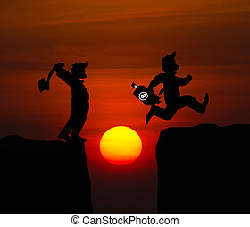 Concept cartoon silhouette, Man hold axe and  Man jumping over precipice