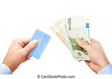 """Concept """"Cash or Card?"""" - the view down on businessman's hands holding plastic credit card and bunch of money (various Euro (Eur) banknotes), isolated over white background"""
