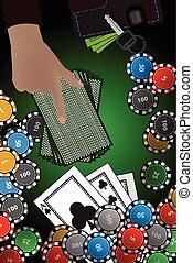 concept, casino, hand, winst, frites, stapel, kaarten.