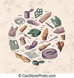 concept, catastrophe, déchets, écologique, sea., circulaire