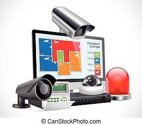 concept, cctv, -, système, appareil photo, vidéo,...