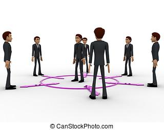 concept, centrum, mannen, anderen, elke, richtingwijzer, tweerichtings, man, 3d