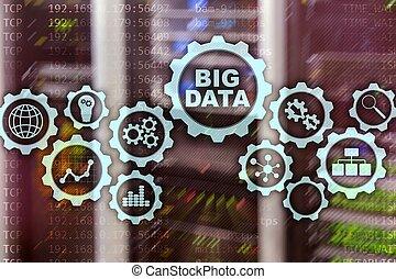 concept, centrum, zakelijk, het grote scherm, production., kelner, hallo technologie, feitelijk, achtergrond, innovatie, data