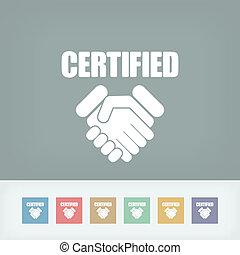 concept, certifié, icône