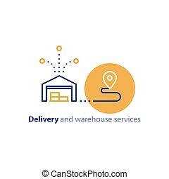 concept, chaîne, relocalisation, livraison, icône, services, expédition, entrepôt, distribution, ordre