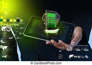 concept, chaîne, téléphone, sécurité, verre, intelligent
