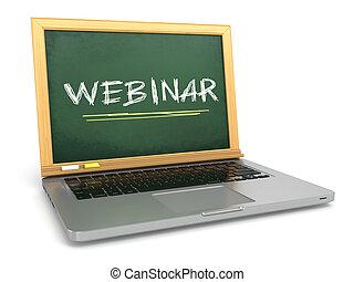 concept., chalk., draagbare computer, webinar, chalkboard