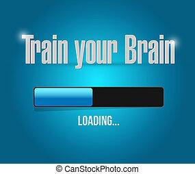 concept, chargement, signe barre, cerveau, train, ton
