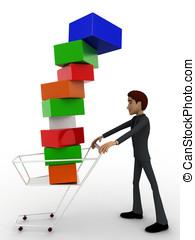 concept, charrette, cubes, sous, tomber, homme, 3d