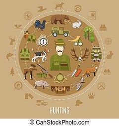 concept, chasse, illustration
