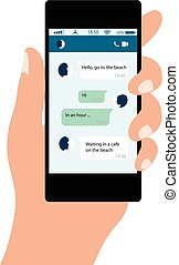 concept, chat., mobile, messages, main, téléphone, social, internet., réseaux