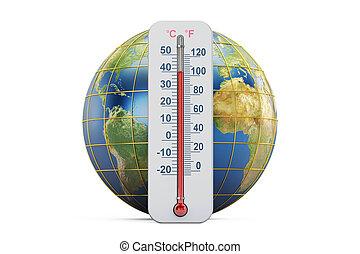concept., chauffage, la terre, 3d, rendre, thermomètre, global, globe