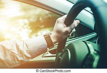 concept, chauffeur, voyage, route
