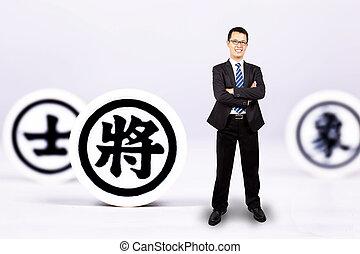 concept, chinois, stratégie commerciale, chess., homme affaires