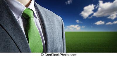 concept:, chiudere, elegante, blazer., abbigliamento, affari verdi, cravatta, ambiente, classico, su