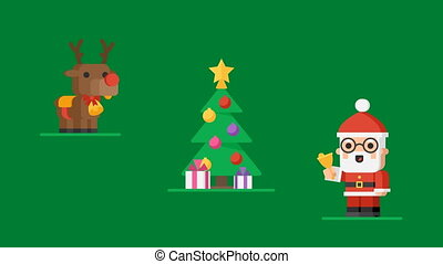 Concept Christmas Characters Santa Claus Reindeer and Snowmen