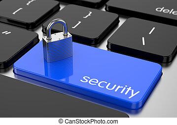 concept, chrome, cadenas, sécurité informatique, keyboard.