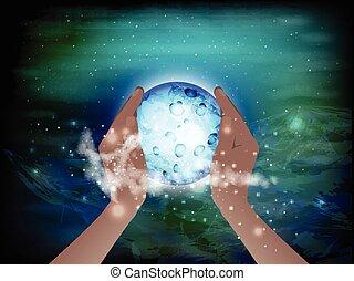 concept., ci, mani, cosmo, presa, dentro
