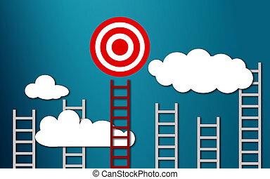 concept, cible, business, échelle, long, rouges, but