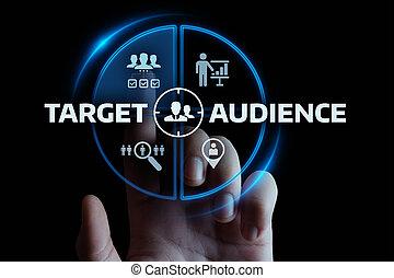 concept, cible, business, commercialisation, audience, technologie internet