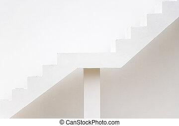 (concept, cible, mur, béton, viser, aspiration), sentier, escalier, carrière, fond blanc