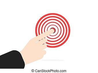 concept, cible, pointage, main., vecteur, droit, fond, index, homme affaires, blanc