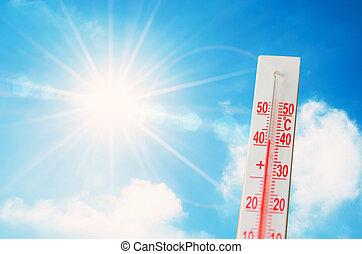 concept, ciel, clair, incandescent, chaud, soleil, thermomètre, weather., rayons, extrême