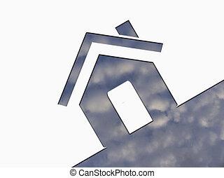 concept, ciel, nuages, maison