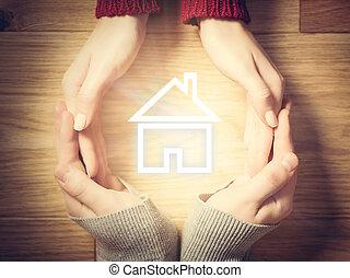 concept, circle., maison, symbole, assurance, mains, maison, intérieur