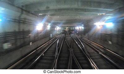 concept, city., point, pov, moderne, commute., accélérez rapidement, souterrain, équitation, sombre, train, en mouvement, cabin., tunnel., tunnel, défaillance, timelapse, matin, métro, temps, ferroviaire, vue