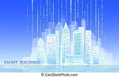 concept, cityscape., blauwe , stad, hemel, vector, intelligent, smart, 3d, stedelijke , zakelijk, zonnig, illustratie, automatisering, spandoek, dag, gebouw, technology., licht, morgen, toekomst, hoop, futuristisch